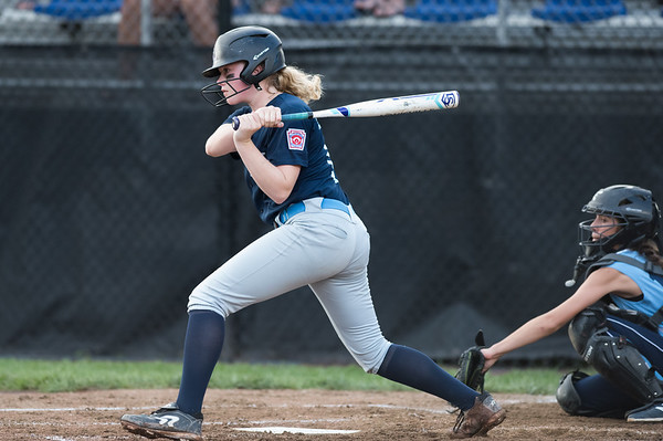 07/23/18 Wesley Bunnell | Staff York, ME defeated Peabody, MA 1-0 in Little League Eastern Region Softball on Monday afternoon. York's Madison Raymond (14).