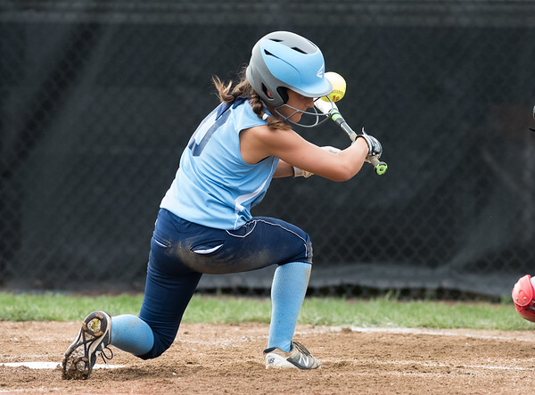 07/23/18 Wesley Bunnell   Staff York, ME defeated Peabody, MA 1-0 in Little League Eastern Region Softball on Monday afternoon. Peabody's Avery Grieco is hit in the helmet by the ball but would bounce right up and run down to first.