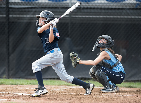 07/23/18 Wesley Bunnell | Staff York, ME defeated Peabody, MA 1-0 in Little League Eastern Region Softball on Monday afternoon. York's Emerson Joyce (8).