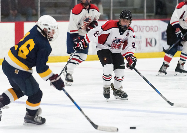 07/26/18 Wesley Bunnell | Staff Central CT Capitals (Newington) 14U skated to a scoreless tie against Simsbury on Thursday evening at Newington Arena in a Nutmeg Games contest. Liam Spring (29).