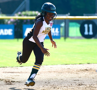 7/26/2018 Mike Orazzi | Staff Delaware's Aniyah Blake (20) during the Little League Eastern Regional Softball Tournament at Breen Field in Bristol Thursday.
