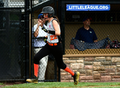 7/26/2018 Mike Orazzi | Staff PA's Erin Van Ness (22) during a win over Rhode Island in the Little League Eastern Regional Softball Tournament at Breen Field in Bristol Thursday.
