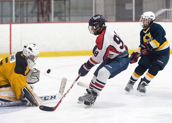 07/26/18 Wesley Bunnell | Staff Central CT Capitals (Newington) 14U skated to a scoreless tie against Simsbury on Thursday evening at Newington Arena in a Nutmeg Games contest. Kyle Kirejczyk (98) with a shot on goal.