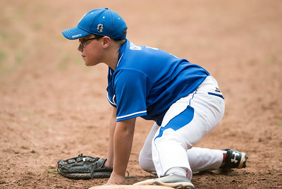 07/30/18  Wesley Bunnell | Staff  The Southington Travel Knights 12U baseball was defeated 10-0 by the Catalyst Bombers at A.W. Stanley Park on Monday evening in Nutmeg Games action. First baseman Derek Chuilli (3) after stretching out for the throw at first base.