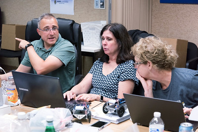 07/27/18  Wesley Bunnell | Staff  School teachers from across the country took part in a week long class assembling and operating robots at ARRL, the national association for Amateur Radio, in Newington from July 23rd through July 27th. The program was designed to help teachers incorporate electrical and wireless technology into their STEM curriculum. Dan Pooler from Hudson New Hampshire, L, works with Colleen Gilchrest from Salado Texas and and Laura Tomlin also from Salado Texas.