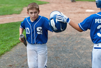 07/30/18  Wesley Bunnell | Staff  The Southington Travel Knights 12U baseball was defeated 10-0 by the Catalyst Bombers at A.W. Stanley Park on Monday evening in Nutmeg Games action. Catcher Sawyer Gravel (10) after his at bat.