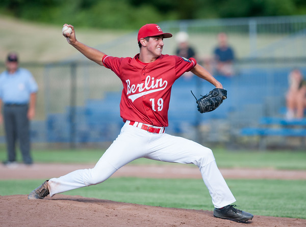 07/12/18 Wesley Bunnell | Staff Berlin Legion baseball vs RCP at Sage Park on Thursday evening. Starting pitcher Matthew Vernacatola (19).
