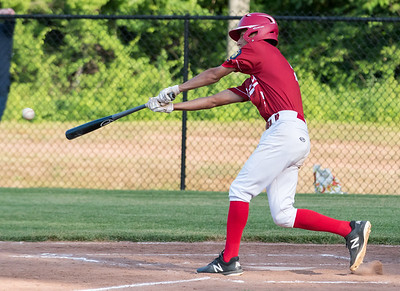 07/12/18  Wesley Bunnell | Staff  Berlin Legion baseball vs RCP at Sage Park on Thursday evening. Gianni Fanelli (5) hits a single and would advance to second on an error by the RCP fielder.