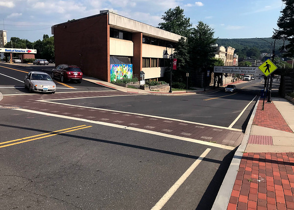 7/13/2018 Mike Orazzi | Staff The intersection of Main and Prospect Streets in Bristol, the scene of a shooting early Friday morning.