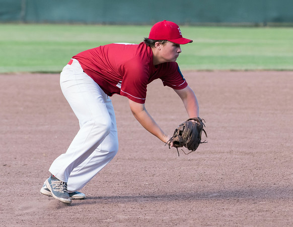 07/12/18 Wesley Bunnell | Staff Berlin Legion baseball vs RCP at Sage Park on Thursday evening. Third baseman Jeff Kuzoian (9) fields a grounder.