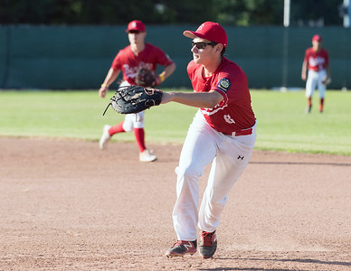 07/12/18  Wesley Bunnell | Staff  Berlin Legion baseball vs RCP at Sage Park on Thursday evening. First baseman Vincenzo Dastoli (6) positions himself to catch a line drive to end an inning.