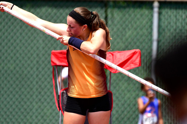 7/14/2018 Mike Orazzi | Staff Kyleigh Dumas in the pole vault during the Nutmeg State Games held at Veterans Memorial Stadium in New Britain Saturday.