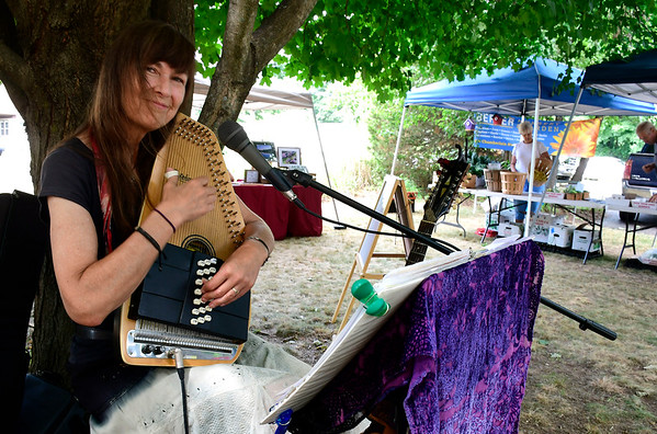 7/14/2018 Mike Orazzi | Staff Gale B. Gardiner performs during the Berlin Farmers Market held at Hungerford Park Saturday morning.