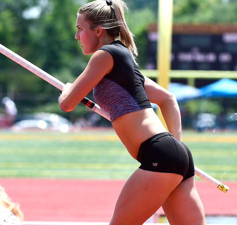 7/14/2018 Mike Orazzi | Staff Katherine Pitman in the pole vault during the Nutmeg State Games held at Veterans Memorial Stadium in New Britain Saturday.