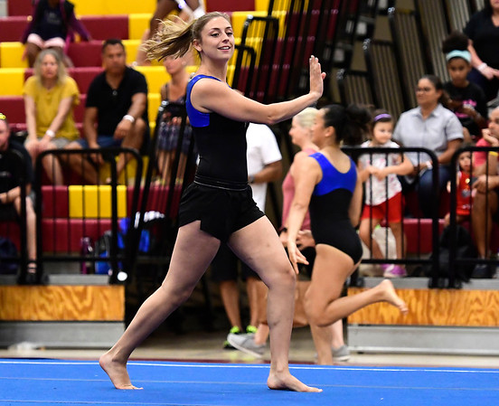 7/14/2018 Mike Orazzi | Staff Kate Skempris performs in the floor exercise at the Nutmeg Games Gymnastics competition held at New Britain High School Saturday.