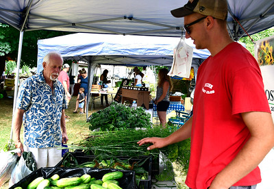 7/14/2018 Mike Orazzi   Staff Rodney Beaulieu talks with Bostrom Farm Stand's Brian Bostrom during the Berlin Farmers Market held at Hungerford Park Saturday morning.