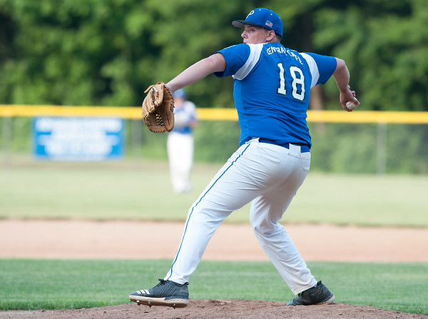 07/16/18 Wesley Bunnell | Staff Bristol defeated Plainville in legion baseball on Monday night at Trumbull Park in Plainville. Alec Karal (18).