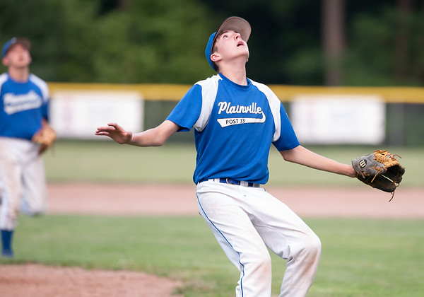 07/16/18 Wesley Bunnell | Staff Bristol defeated Plainville in legion baseball on Monday night at Trumbull Park in Plainville. Pitcher Alex Grabowski (13) looks to field a pop up in front of the mound.