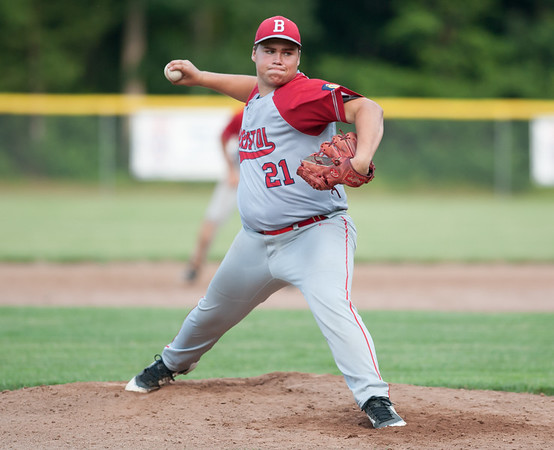 07/16/18 Wesley Bunnell | Staff Bristol defeated Plainville in legion baseball on Monday night at Trumbull Park in Plainville. Stephen Warkoski (21).