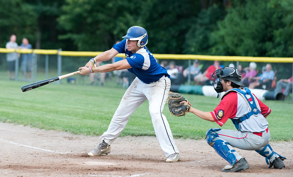 07/16/18 Wesley Bunnell | Staff Bristol defeated Plainville in legion baseball on Monday night at Trumbull Park in Plainville. Ryan Rodriguez (17) reaches for an outside pitch.