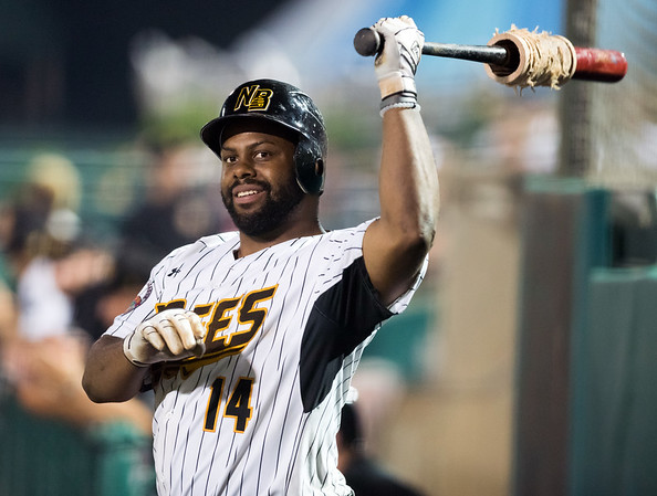07/03/18 Wesley Bunnell | Staff The New Britain Bees vs the Long Island Ducks on July 3rd at New Britain Stadium. Jason Rogers (14).