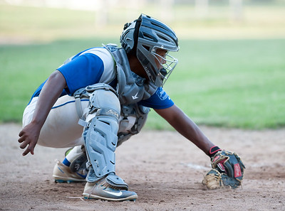 07/16/18  Wesley Bunnell | Staff  Bristol defeated Plainville in legion baseball on Monday night at Trumbull Park in Plainville. Juan Camacho (23) picks the pitch out of the dirt.