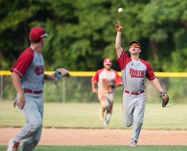 07/16/18  Wesley Bunnell | Staff  Bristol defeated Plainville in legion baseball on Monday night at Trumbull Park in Plainville. Noah Plantamuro (3) tosses the ball back to the pitchers mound at the end of the inning.