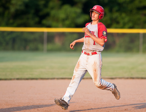 07/16/18 Wesley Bunnell | Staff Bristol defeated Plainville in legion baseball on Monday night at Trumbull Park in Plainville. Bristol runner Michael Lemke (1) advances to third.