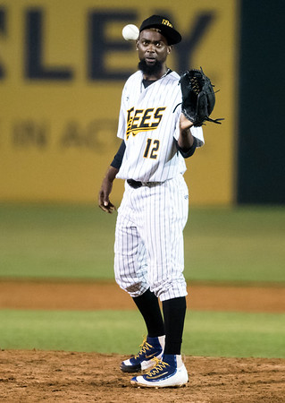 07/03/18 Wesley Bunnell | Staff The New Britain Bees vs the Long Island Ducks on July 3rd at New Britain Stadium. Sam Gervacio (12).