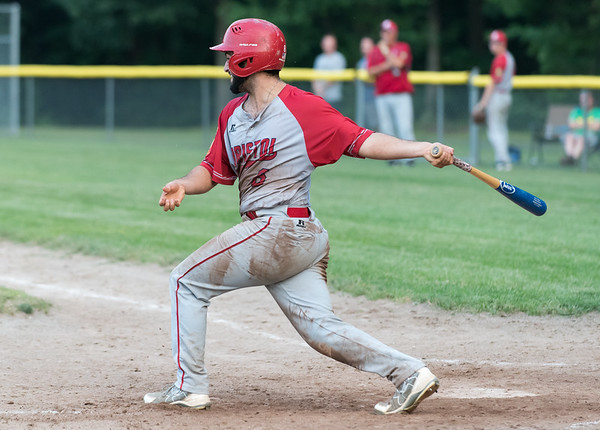 07/16/18 Wesley Bunnell | Staff Bristol defeated Plainville in legion baseball on Monday night at Trumbull Park in Plainville. Anthony Lozier (6).