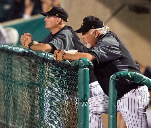 07/03/18 Wesley Bunnell | Staff The New Britain Bees vs the Long Island Ducks on July 3rd at New Britain Stadium. Hitting Coach Miguel Gomez (27), L, and Head Coach Wally Backman (6).