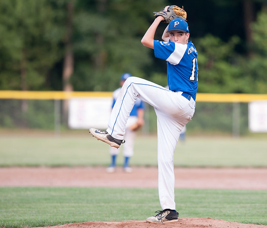 07/16/18 Wesley Bunnell | Staff Bristol defeated Plainville in legion baseball on Monday night at Trumbull Park in Plainville. Pitcher Alex Grabowski (13).