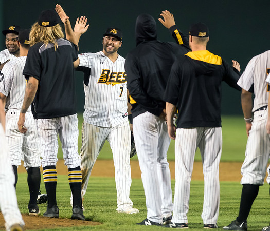 07/03/18 Wesley Bunnell | Staff The New Britain Bees vs the Long Island Ducks on July 3rd at New Britain Stadium. The Bees line up for the post game hand shakes and high fives. Matt Tuiasosopo (7).