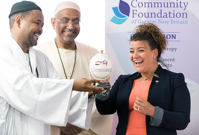 07/18/18  Wesley Bunnell | Staff  The Sudanese American House celebrated its official opening today at its New Britain location including guest speakers, friends and city officials. Abuobaida Ahmed, on behalf of the house, presented Mayor Erin Stewart with a decorated ostrich egg from Sudan.