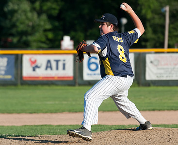 07/18/18  Wesley Bunnell | Staff  Newington 12U Little League vs Mystic on Wednesday afternoon played in Rocky Hill. Sam Drozd (8) in relief.