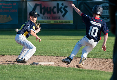 07/18/18  Wesley Bunnell | Staff  Newington 12U Little League vs Mystic on Wednesday afternoon played in Rocky Hill. Short stop Gavin Gray (3) is unable to handle the throw on a play at second base.