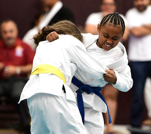 7/21/2018 Mike Orazzi | Staff Kylie Dunn and Aleya Mercado during the Nutmeg Games Judo held at New Britain High School Saturday morning.