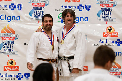 7/21/2018 Mike Orazzi | Staff Vincent Lupo and Charles Schweizer during the Nutmeg Games Judo held at New Britain High School Saturday morning.