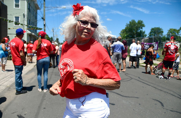 7/21/2018 Mike Orazzi | Staff Isabel Cancel dances during the annual Puerto Rican Festival held on High Street in New Britain Saturday.