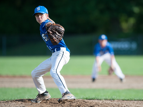 07/24/18 Wesley Bunnell | Staff Southington vs Stratford Titans in 13U Nutmeg Games baseball at Percival Field on Tuesday afternoon. Aiden Buck (68).