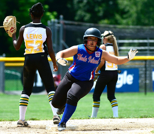 7/25/2018 Mike Orazzi | Staff Rhode Island's Sofia Marella (3) rounds second base during a win over Delaware at Breen Field in Bristol Tuesday afternoon.