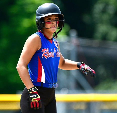 7/25/2018 Mike Orazzi | Staff Rhode Island's Ava Santo (9) during a win over Delaware at Breen Field in Bristol Tuesday afternoon.