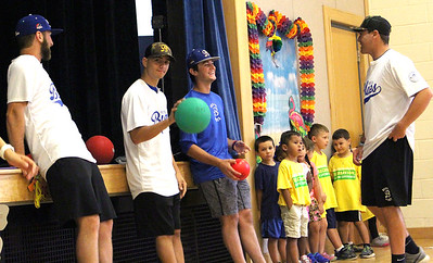 07/25/2018 Courtney Rush   Photographer Bristol Blues players play kickball at Mountain View school Bristol, CT