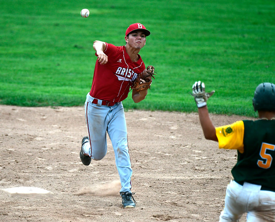 7/27/2018 Mike Orazzi | Staff Bristol American Legion's Cory Fradette (2) during a loss to RCP during the state tournament held at Tunxis Meade Field in Farmington Friday afternoon.
