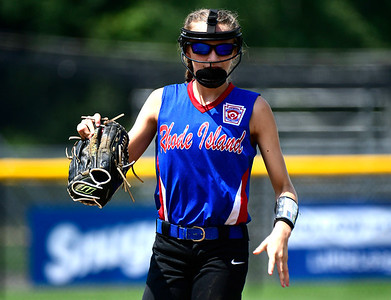 7/27/2018 Mike Orazzi | Staff Rhode Island's Gabrielle Jeffrey (12) during Friday's championship game with Pennsylvania during the Eastern Regional Little League final at Breen Field in Bristol.