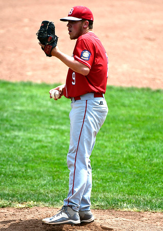 7/27/2018 Mike Orazzi | Staff Bristol American Legion's Zachary Marquis (9) during a loss to RCP during the state tournament held at Tunxis Meade Field in Farmington Friday afternoon.
