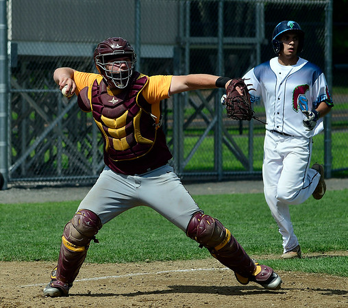 7/28/2018 Mike Orazzi | Staff New Britain's Michael Gajda (15) during Nutmeg baseball at Beehive Field Saturday morning.