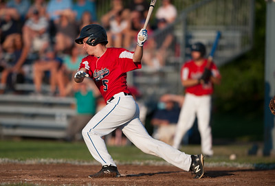 07/31/18  Wesley Bunnell | Staff  Southington vs Cheshire in the American Legion State Tournament at Ceppa Field in Meriden on Tuesday night. Daniel Topper (5).