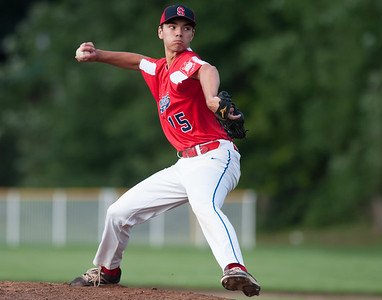 07/31/18  Wesley Bunnell | Staff  Southington vs Cheshire in the American Legion State Tournament at Ceppa Field in Meriden on Tuesday night. Jason Krar (15).