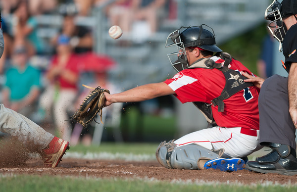 07/31/18 Wesley Bunnell | Staff Southington vs Cheshire in the American Legion State Tournament at Ceppa Field in Meriden on Tuesday night. Josh Panarella (7).
